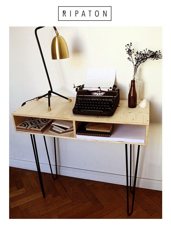 Pied de table en épingle 71 cm Brut - Hairpin legs fait main - piétement de table
