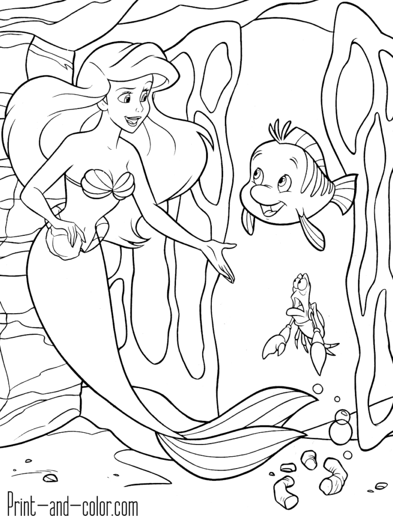 The Little Mermaid Coloring Pages Print And Color Com Ariel Coloring Pages Mermaid Coloring Pages Disney Coloring Pages