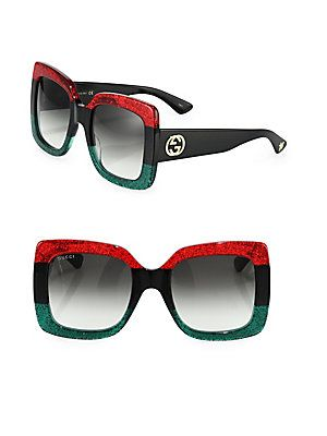 cff9fb45d57 Gucci 55MM Oversized Square Colorblock Sunglasses - Red