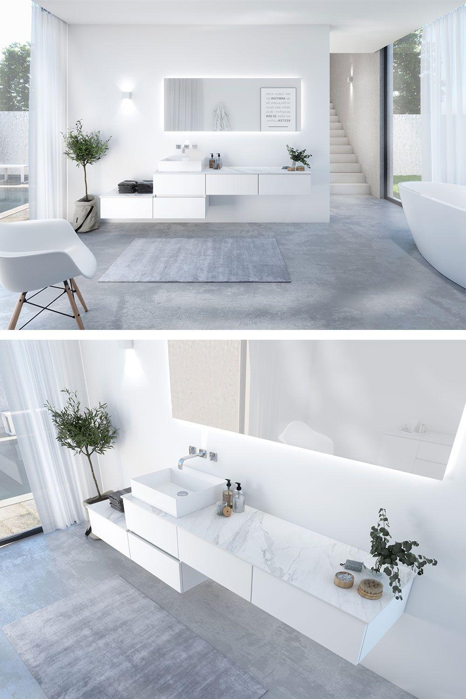 Weisse Waschtisch Kombination In 2020 Weisser Waschtisch Waschtischunterschrank Design