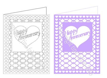 Happy Anniversary Lattice cut Card SVG on Craftsuprint designed by - blank card template