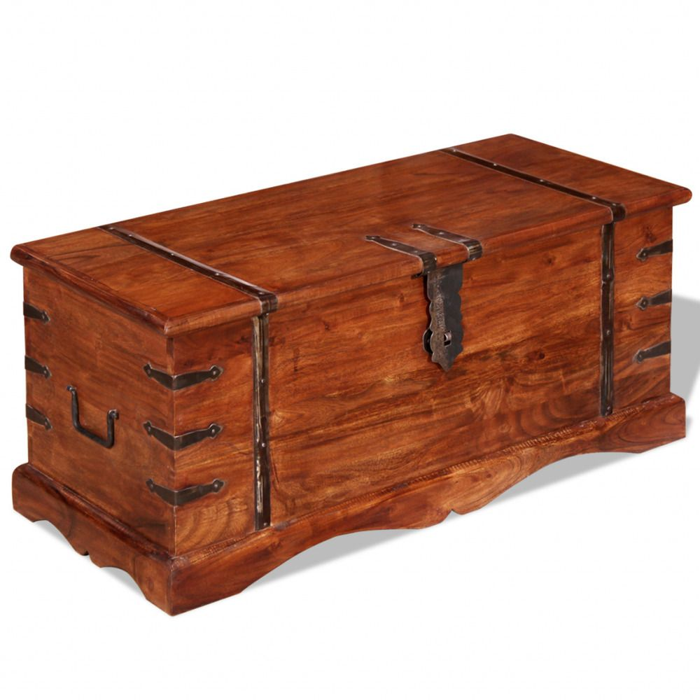 Brown Storage Trunk Chest Wooden Acacia Wood Boxes Bedroom Table