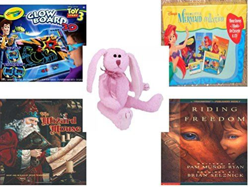 Girls Gift Bundle  Ages 612 5 Piece  Crayola 3D Glow Board Disney Toy Story 3  Little Mermaid 3 Story Books On Cassette and CD Toy  Ty Attic Treasures Strawbunny The Bunny Rabbit  The Wizar