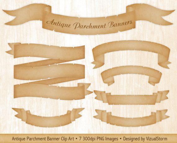 Vintage Parchment Banner Clipart Antique Scroll Ribbons Etsy Banner Clip Art Clip Art Vintage Banner