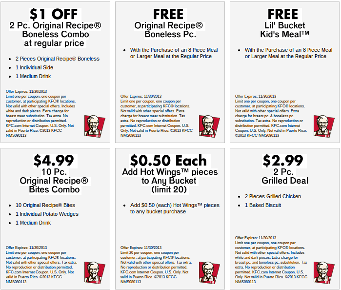 Kentucky Fried Chicken Coupons Printable 2013