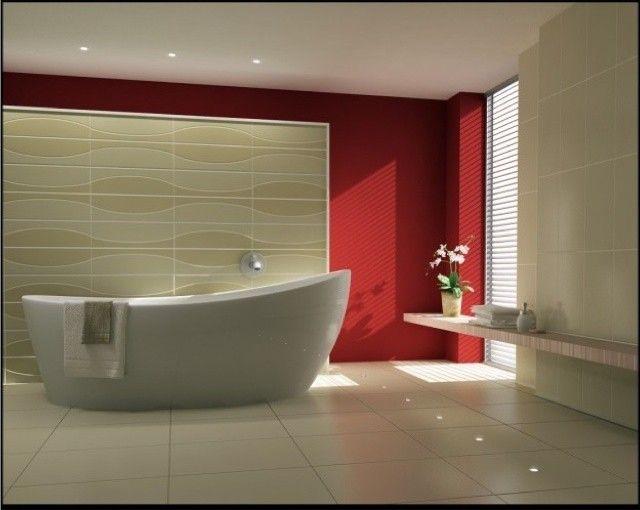 Colore pareti bagno - Bagno con parete rossa