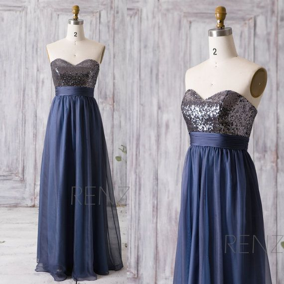 Party Dress Dark Steel Blue Bridesmaid Dress Wedding Dress