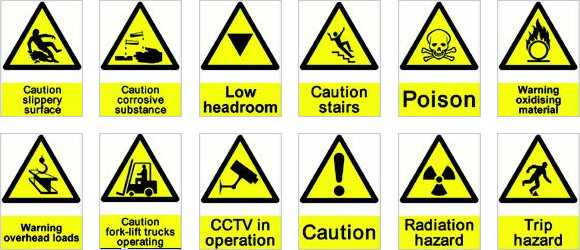 Hazard And Safety Signs Safety Signs And Symbols Safety Hazard