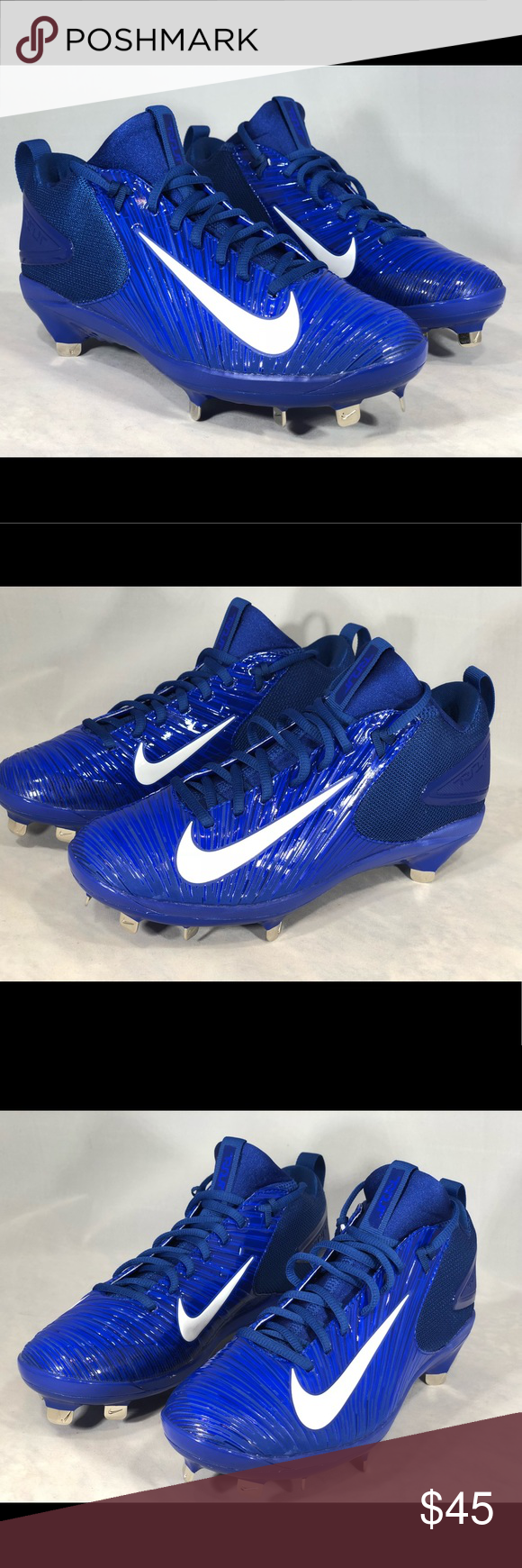 de40a57ee Nike Force Trout 3 MCS Blue Molded Baseball Cleats Nike Men s Trout 3 Pro  Baseball Metal Cleats Color  Racer Blue White Rush Blue Phylon midsole for  ...