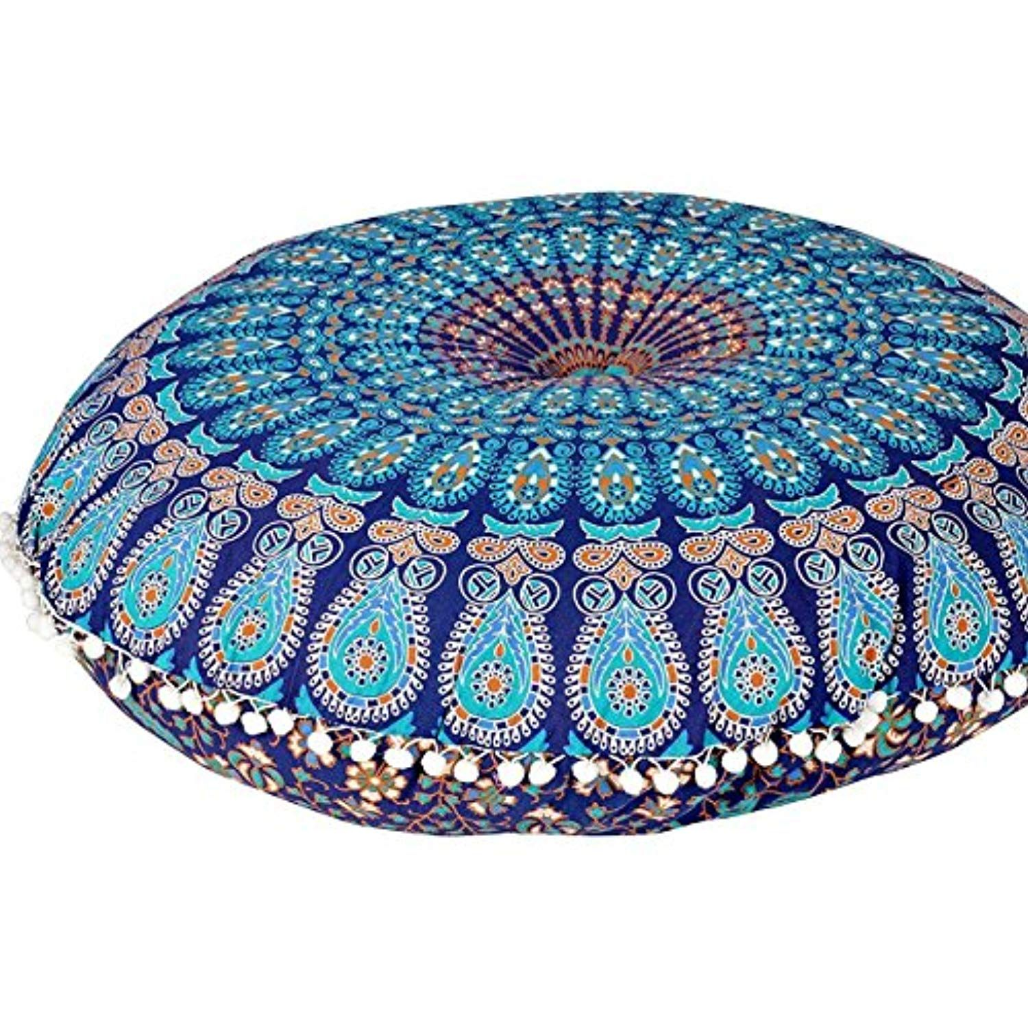 Plush Decor Large Floor Cushion Cover Kids Meditation Mandala