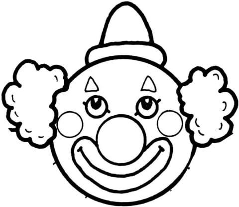 Clown Face Template Printable Clown S Face Coloring Page Free