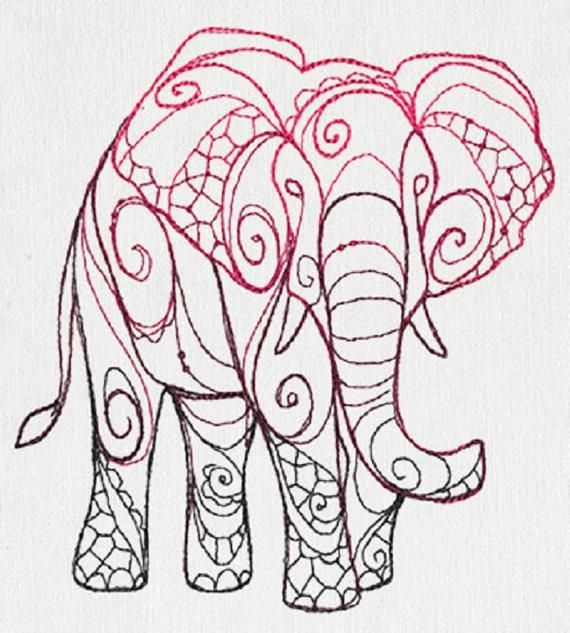 The Delicate Ones - Elephant Embroidered Cotton Kitchen Dish Towel #dishtowels