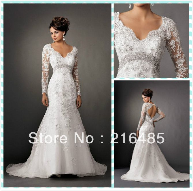 Custom White/Ivory V-Neck Open Back Bead Mermaid Long Sleeve Lace ...