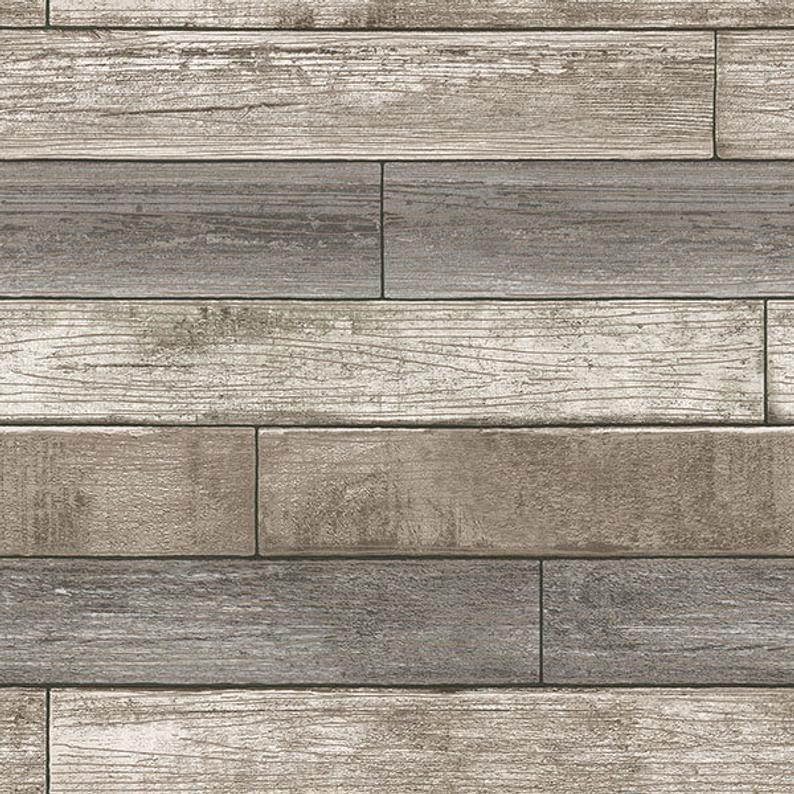 Nu1690 Taupe Grey Reclaimed Wood Plank Peel Stick Wallpaper Etsy Wood Plank Wallpaper Peel And Stick Wood Wood Wallpaper