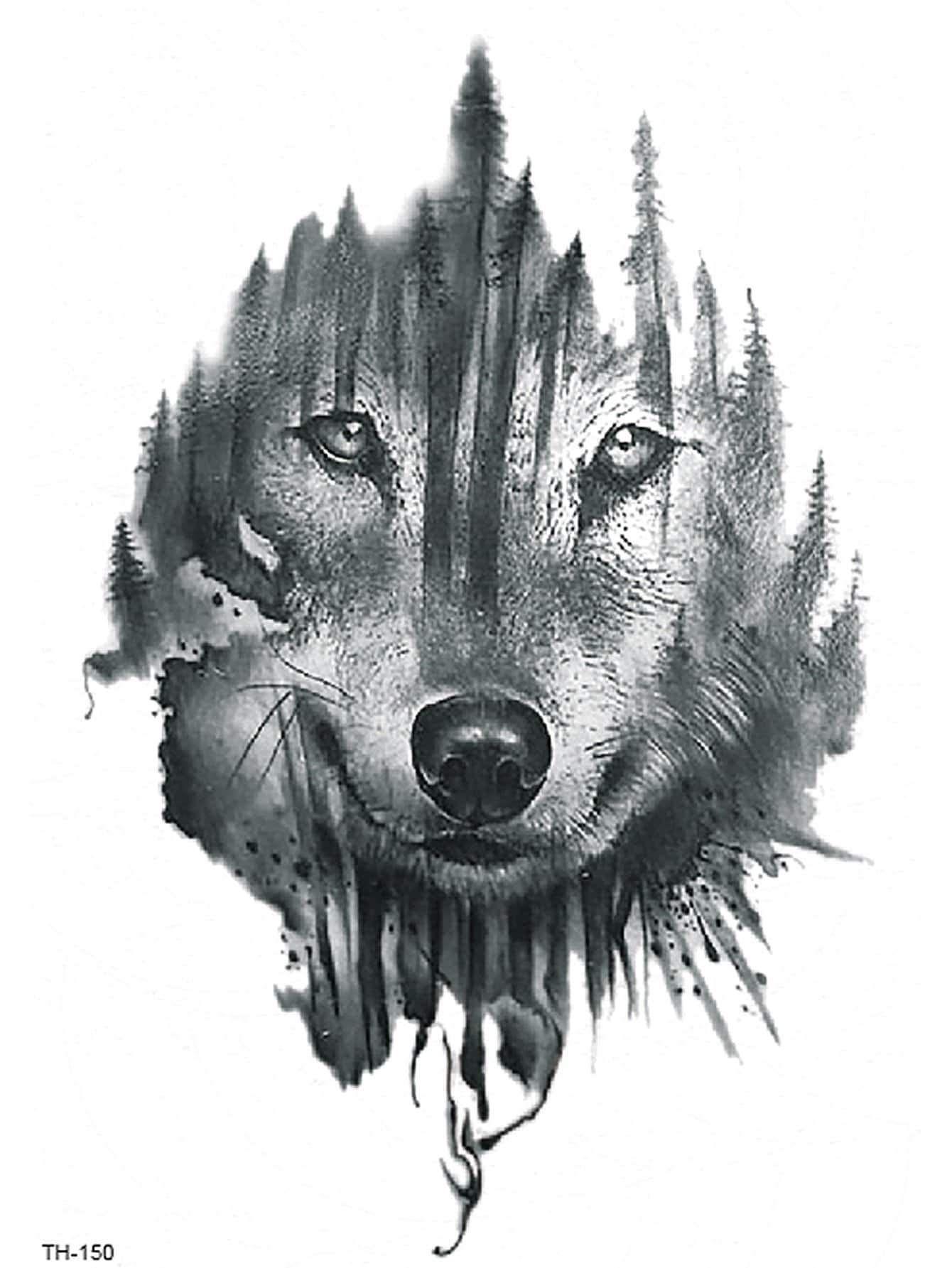 Wolf Face Tattoo Sticker Tattoos Beautytools Women Fashion Wolf Face Tattoo Wolf Face Animal Tattoos