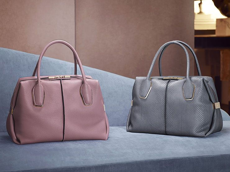 Tod's D-Bow bauletto bags in nappa leather and fine python, with a  minimalist