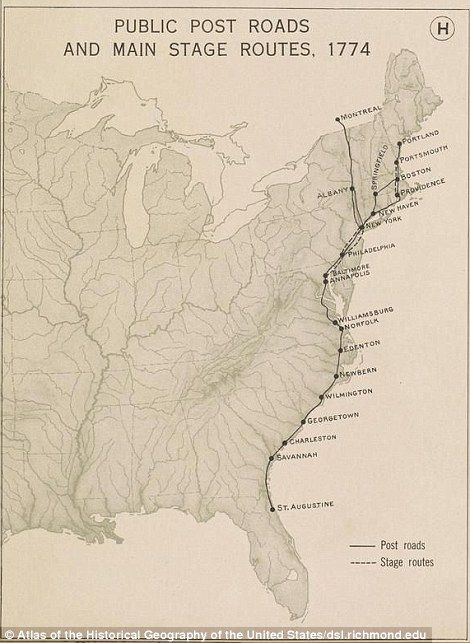 Revolution to birth of a nation: The first post roads for stagecoaches reveal the routes t...