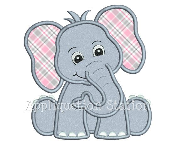 Zoo Baby Elephant Applique Machine Embroidery Design