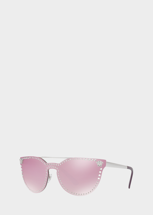 f5648f93a3c5 Pink Mirror Stud Sunglasses from Versace Women's Collection. Full rim cat- eye sunglassses with pink lense featuring small silver Medusa Head accents  ...