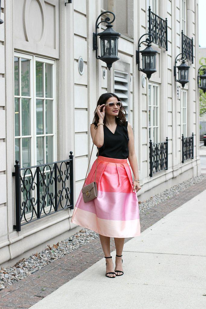 5940976f6e98e Versace VE4328 Pink Beige Sunglasses Chicwish Lollipop Flared Midi Skirt  Gucci Marmont Matalasse Mini Wallet Chain Bag Blogger Outfit