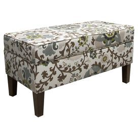 """Hinge-top storage bench. Handmade in the USA with solid pine wood.   Product: Storage benchConstruction Material: Pine wood, polyurethane and polyester fill foamColor: MultiFeatures:  Handmade in the USAHinged top for easy access to storage Dimensions: 19.5"""" H x 38.5"""" W x 18.5"""" DCleaning and Care: Spot clean"""