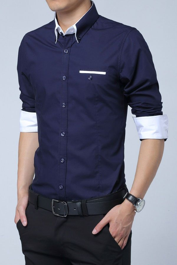 Mens fashion collared shirts 27