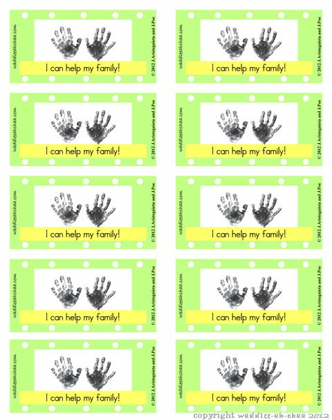 Free Kids Printable Reward Punch Cards Chore Time Chore cards