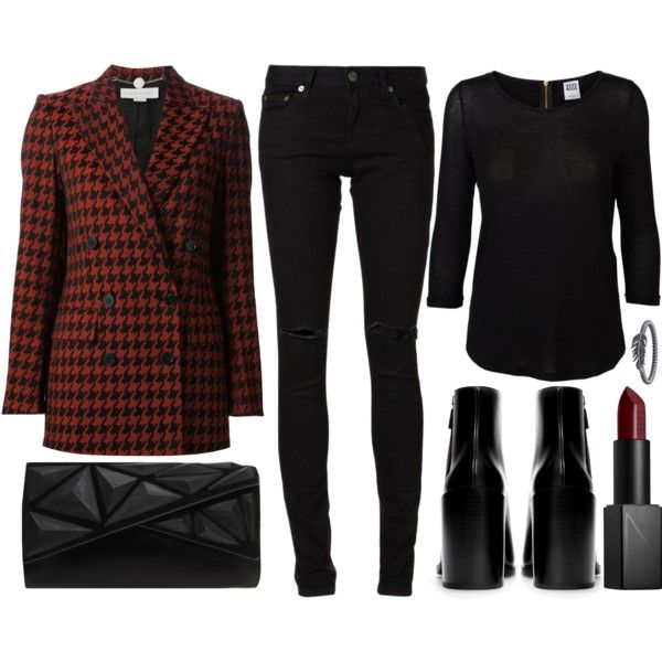 A fashion look from November 2014 featuring Vero Moda blouses, STELLA McCARTNEY jackets and Yves Saint Laurent jeans. Browse and shop related looks.
