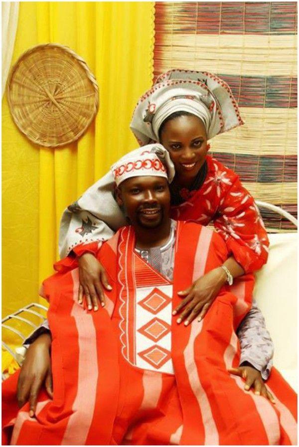 Nigerian Couple In Grey And Burnt Orange Yoruba Wedding Attire