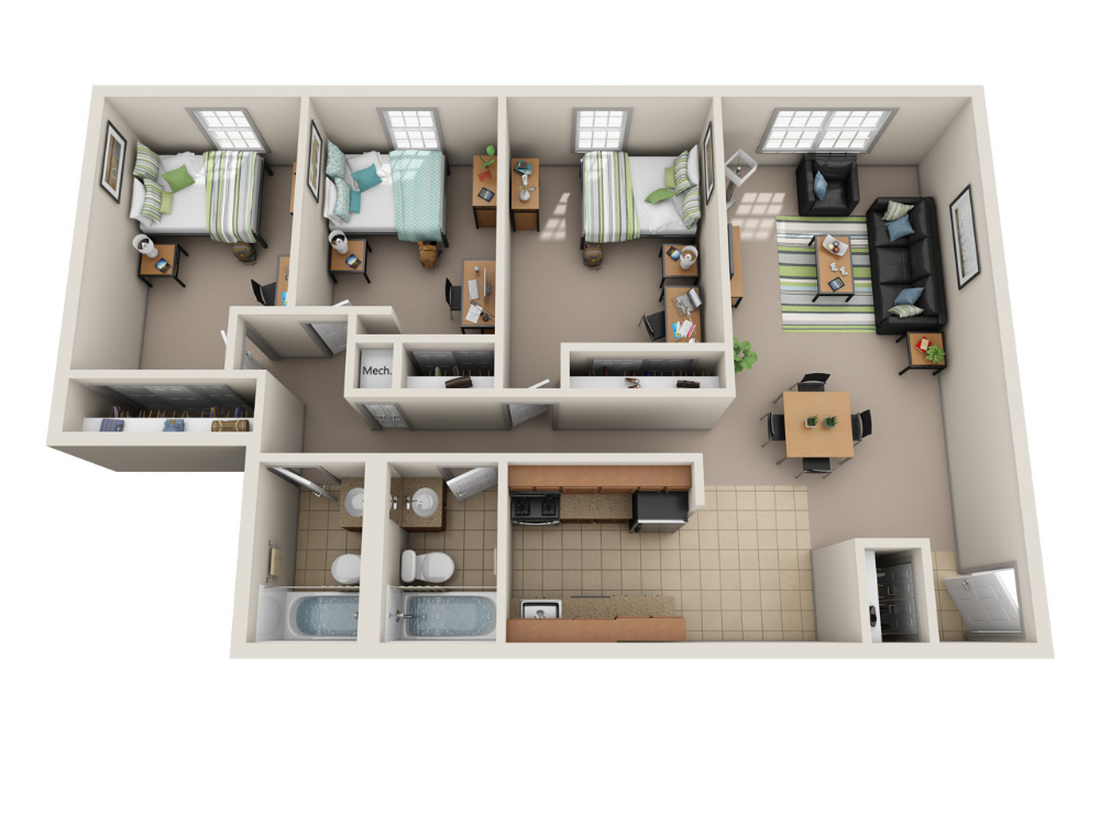 River Park Apartments Floor Plans Ohio University Student Housing Student Bedroom Student House Student Apartment