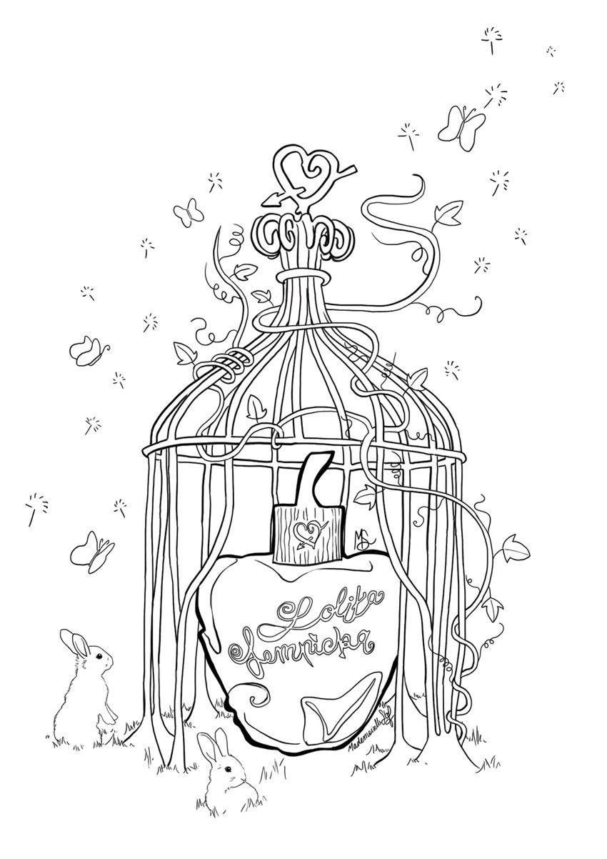 Coloriage parfum lolita lempicka inspirations - Dessin parisienne ...