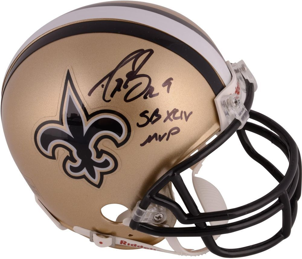 Autographed Drew Brees New Orleans Saints Signed Mini Helmet w  SB XLIV MVP  Insc   e1bd3f3d3