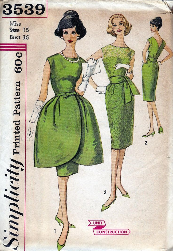 60s Vintage Sewing Pattern Bust 36 Sheath Dress with Tulip Overskirt ...