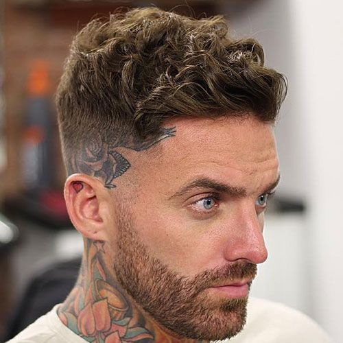 Low Bald Fade And Curly Crew Cut With Side Sweep Long Hairstyles