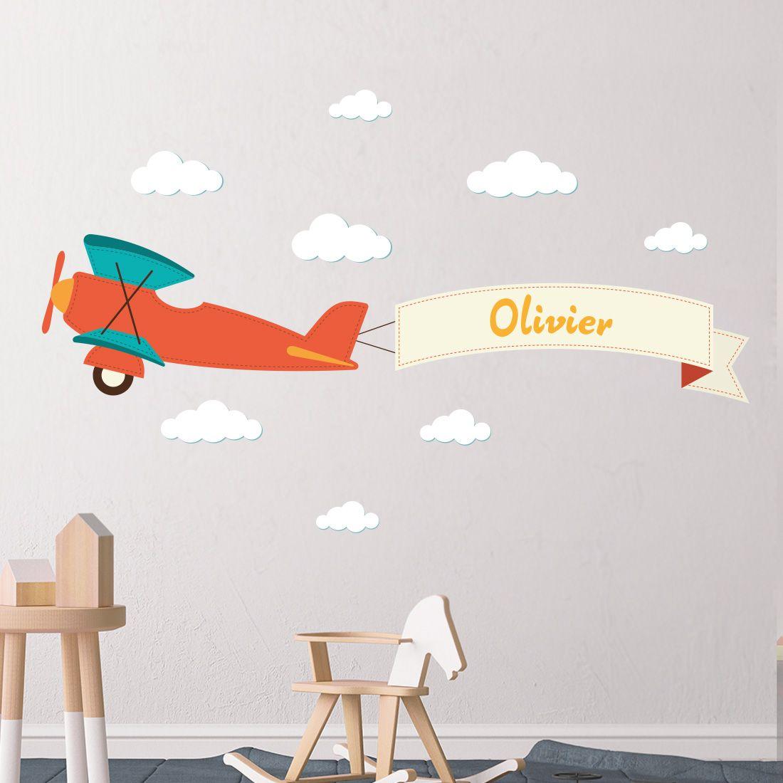 Muursticker vliegtuig dubbeldekker met naam | Muurstickers