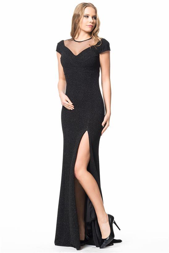 dee6d024f2452 Derin Yırtmaçlı Uzun Abiye Elbise Siyah | Moda | Siyah abiye, Elbise ...