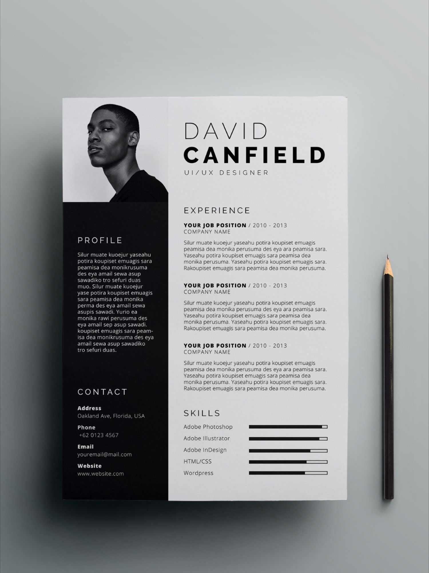 Professional Resume Template For Microsoft Word With Cover Letter Resume Template With Photo Executive Resume Template Cv Template Desain Cv Cv Kreatif Desain Grafis
