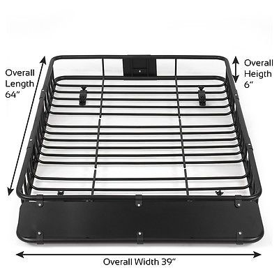64 Black Universal Roof Rack W Extension Cargo Top Luggage Carrier Basket Luggage Carrier Roof Rack Top Luggage