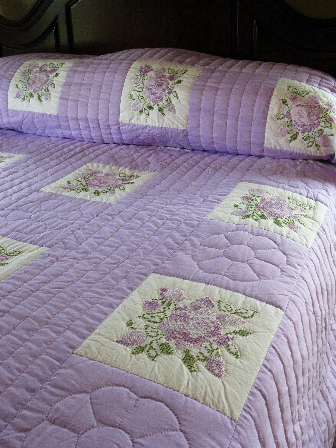 HUGE KING SIZE Hand Embroidered Cross stitch Floral Quilt