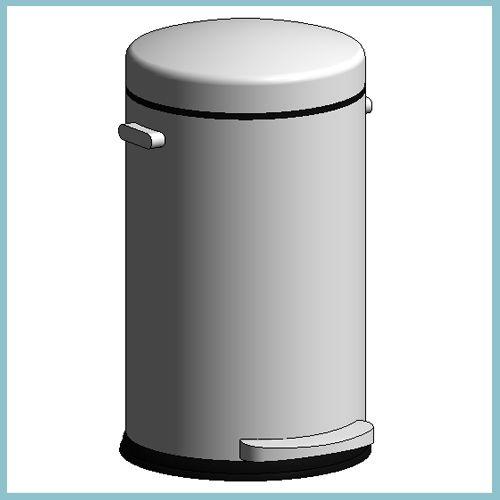 Retro Pedal Bin 30 Litre Brushed Steel (Autodesk Revit Architecture 2012 Families) - urBIM Revit Components