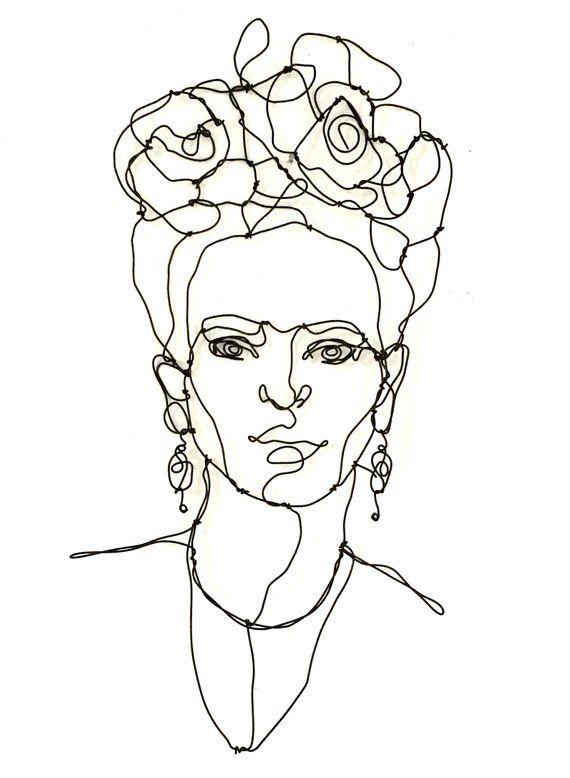 Wire Wall Portrait of Frida, a tribute to an iconic artist. This portrait, light and modern, will be perfect for any art collection. This great artist is remembered for her self-portraits, pain and passion, and bold, vibrant colors. Measures 8 x 15 inches other wire sculptures here: