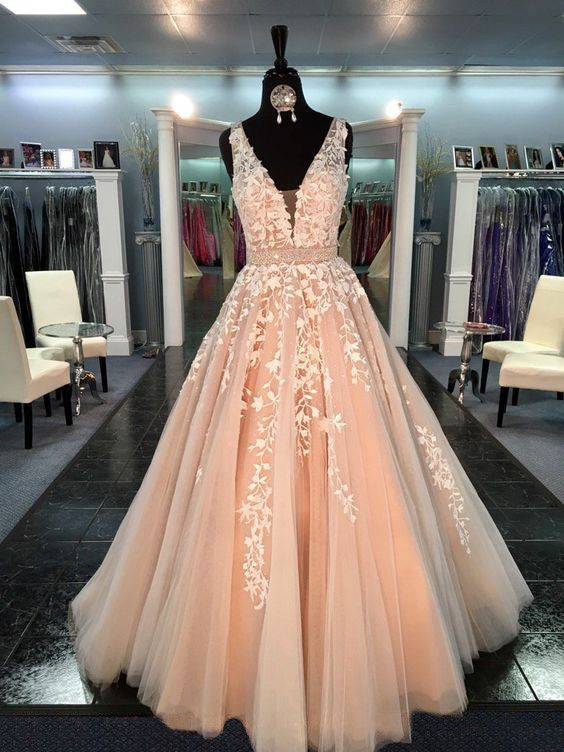 L59 Fashion Wedding Dresses, V Neck Prom Dresses, Sleeveless Prom ...