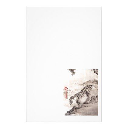 JAPANESE TIGER ON RED.  SILVER CARRY ON SUITCASE STATIONERY - antique gifts stylish cool diy custom
