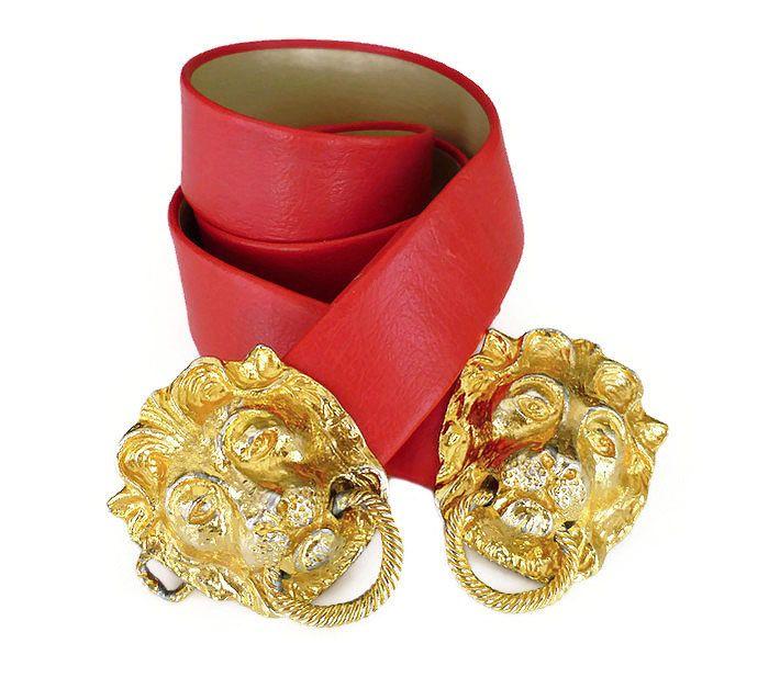 Mimi D N Belt, Lion Head, Door Knocker, Buckle, Red Faux Leather, Adjustable, Designer Fashion, Vintage Accessories