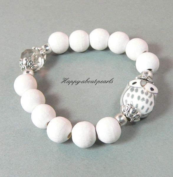 White Ceramic Owl Bracelet
