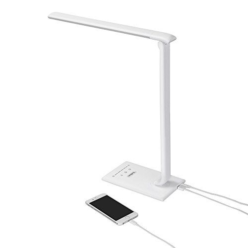Vonhaus White Folding Led Desk Lamp With Usb Charger 7 Level Dimmer Touch Control Timer College Student Bedroom Office Hobby Or Modern Table Lamp Bul Led Desk Lamp