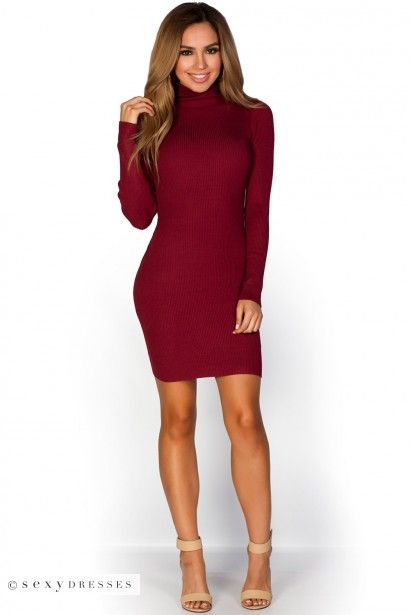 Red Turtle Neck Long Sleeve Formal Dress