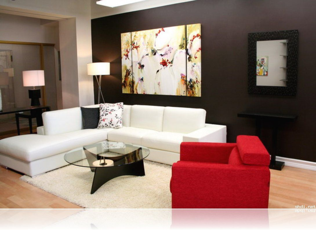 Red living room ideas with black bold wall abstract painting