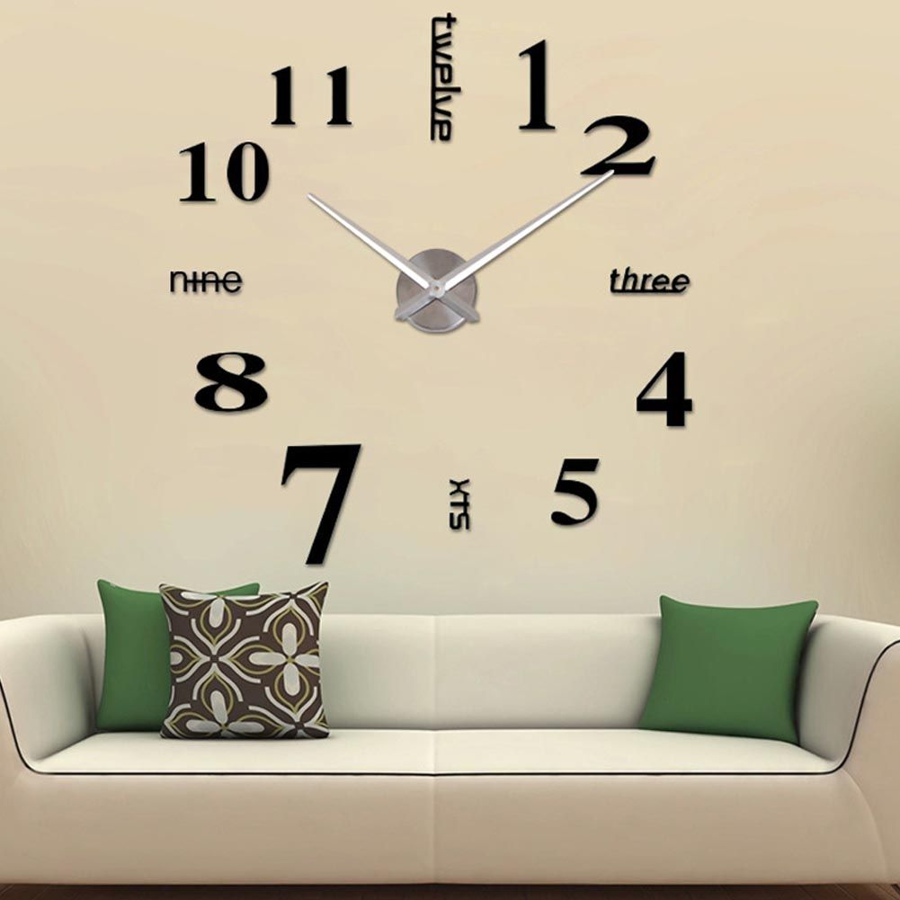 Diy large acrylic mirror wall clock d numbers design sticker for