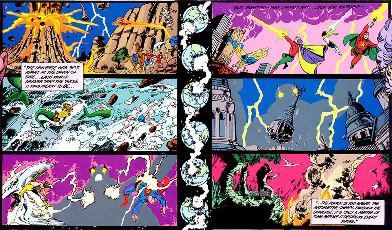 Crisis on Infinite Earths panel : george perez detailed artworks